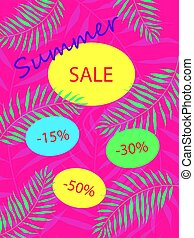 Summer sale Bright leaflet with discounts for your business. Vector illustration.
