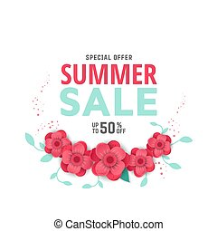 Summer sale design with flowers