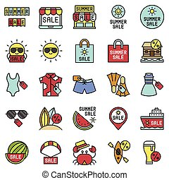 Summer sale element icon set 2, filled style