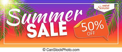 Summer Sale end of Season Banner. Business Discount Card. Illustration