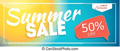 Summer Sale end of Season Banner. Business Discount Card....