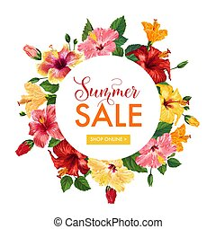 Summer Sale Floral Banner. Seasonal Discount Advertising with Red Hibiscus Flowers. Tropical Paradise Promotional Design for Poster, Flyer. Vector illustration