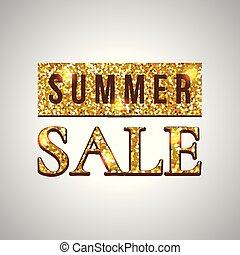 Summer sale glitter text on green background