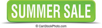 Summer sale green 3d realistic square isolated button