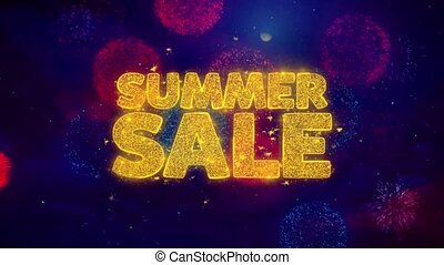 Summer Sale Greeting Text Sparkle Particles on Colored...