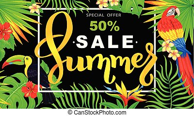 Summer sale horizontal banner with parrot and toucan and tropical flowers and leaves on black background