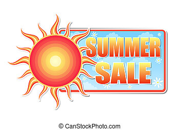 summer sale in label with sun - summer sale banner - text in...