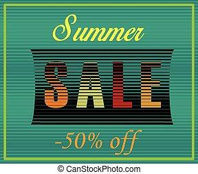 Summer Sale Inscription. Striped  Colorful Letters