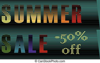 Summer Sale Inscription. Striped Colorful Letters. Vector...