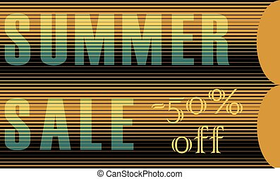 Summer Sale Inscription. Striped Letters
