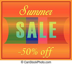 Summer Sale Inscription. Striped Yellow Blue Letters. Vector...