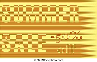 Summer Sale Inscription. Striped Yellow Letters. Vector...