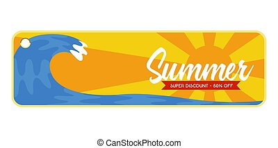 Summer sale label with an ocean wave image
