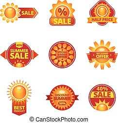 Summer sale labels set