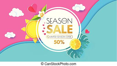 Summer Sale Layout Design Template. Paper Art. Season Offer Banner with Circle Banner, Citrus, Plumeria, Starfish, Sun, Monstera LEaves and Hearts on Bright Wave Background.