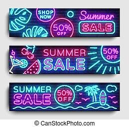 Summer Sale Neon collection horizontal Banner Vector. Advertising banner in modern trend design, neon style, bright night advertising Summer discount, design template. Vector illustration