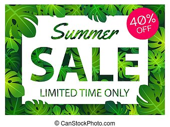 Summer sale offer banner philodendron leaves overlay between white and pink label, modern and fashionable design