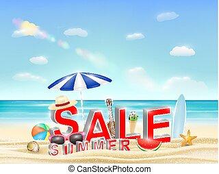 summer sale on a sea sand beach vector