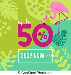 Summer Sale poster with tropic leaves, flowers, flamingoes, advertisement banner and tropical background in modern flat style, flash spring special offer, poster vacation ad, flyer. Vector