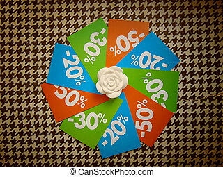 summer sale price tags in a circle around white flower