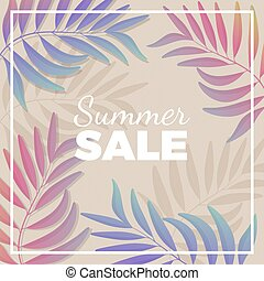 Summer sale promotional banner with plant branches in pastel tones