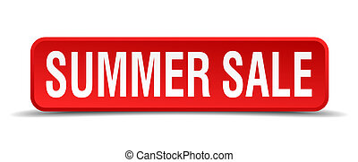 Summer sale red 3d square button isolated on white