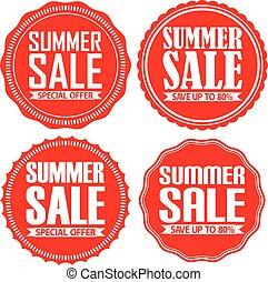 Summer sale red label set, vector illustration
