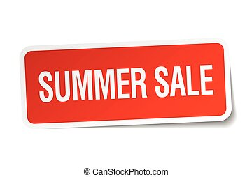 summer sale red square sticker isolated on white