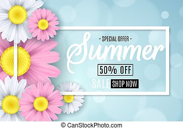 Summer sale. Seasonal banner. Multicolored flowers on a light blue background. Glare bokeh. Calligraphic text. Vector illustration
