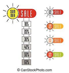 summer sale sign set with sun design illustration
