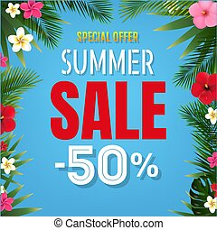 Summer Sale Tropical Border Blue background