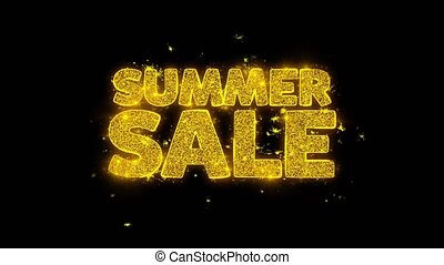 Summer Sale Typography Written with Golden Particles Sparks...