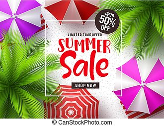Summer sale vector banner design. Summer sale discount text in a boarder with palm