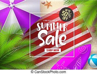 Summer sale vector banner design. Summer sale discount text in frame with beach umbrella
