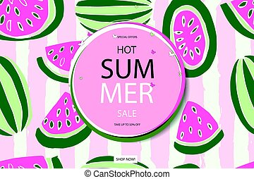 Summer sale vector in watermelon background - Summer sale...