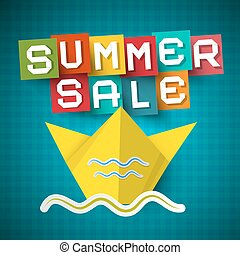Summer Sale Vector Paper Cut Letters with Origami Boat on Blue Background