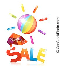 Summer Sale Vector with Colorful Sun and Title on White Background