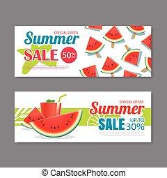 Summer sale voucher background template. Discount coupon. Banner season elements flat design.