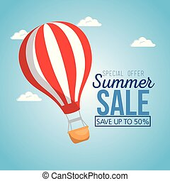 summer sale with balloon air hot