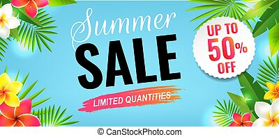 Summer Sale With Flowers Border