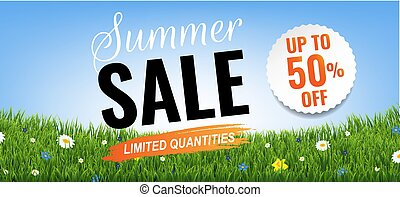 Summer Sale With Grass Border