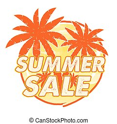 summer sale with palms signs, vecto