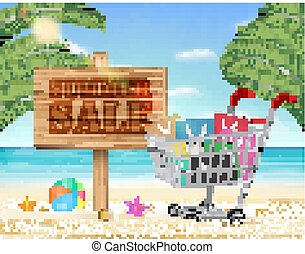 summer sale wood board and shopping cart with beach background