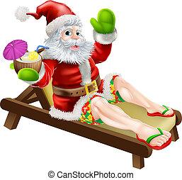 Summer Santa illustration. A Christmas illustration of Santa...