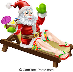 Summer Santa illustration. A Christmas illustration of Santa relaxing in a sun lounger on the beach or by the pool with a drink and wearing Bermuda or Hawaiian board shorts and flip flop sandals.