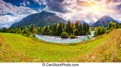 Summer scene of the Triglav mountain range, view from the ...
