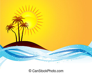 Summer scene with palm trees