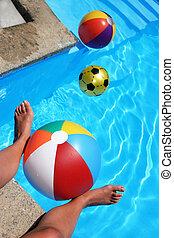 Summer scene with beachballs