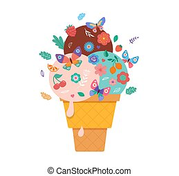 Summer background with ice cream cone, sundae with flowers, fruits and butterflies