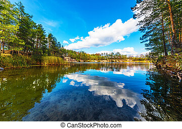 Summer scenery of canyon and lake